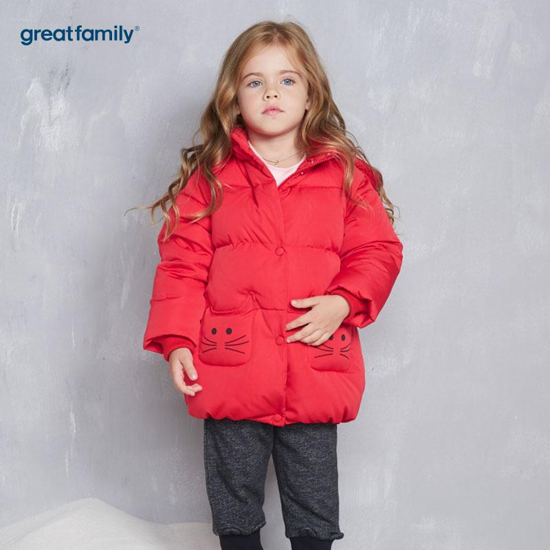 歌瑞家(Greatfamily)A类女童红色花苞型连帽中长款羽绒服