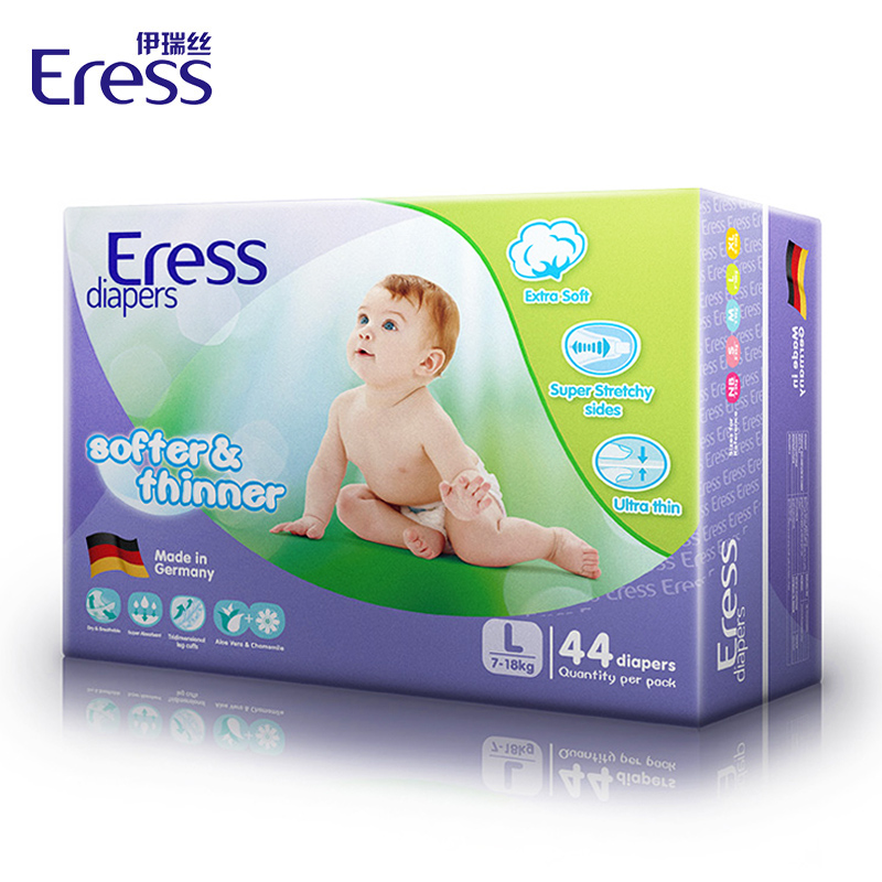 伊瑞丝德国进口婴儿纸尿裤超强吸水双重防侧漏L44片/包