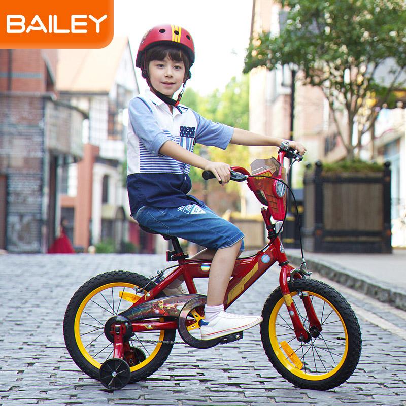 贝乐童车迪士尼系列钢铁侠盾牌自行车16寸 黄色