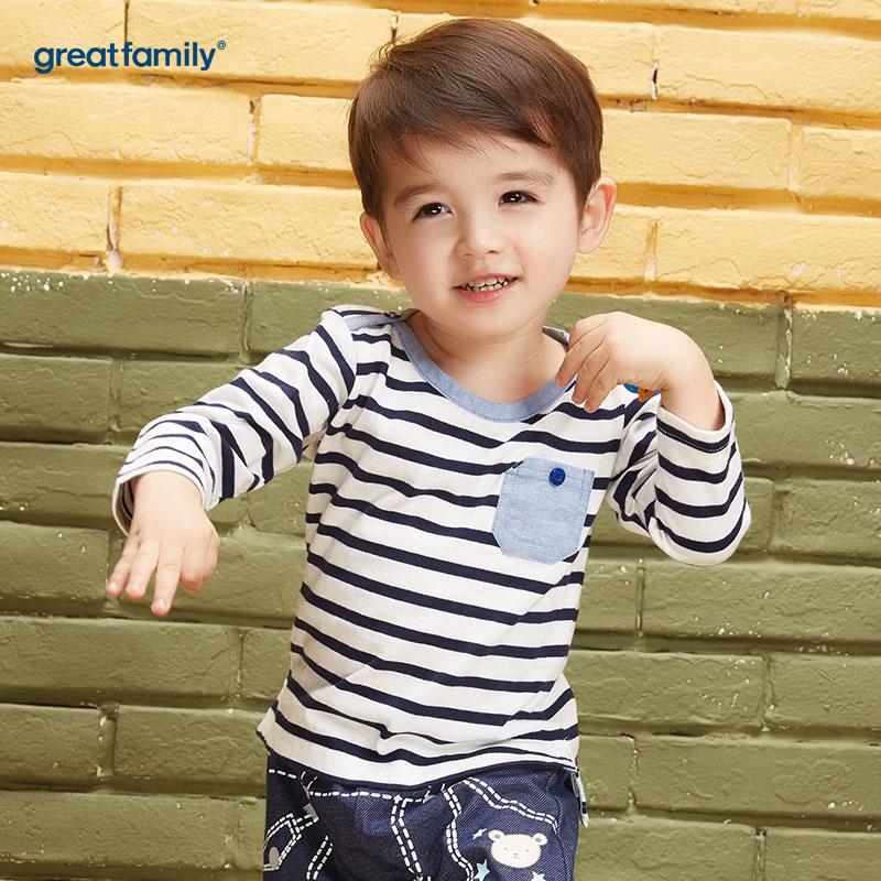 歌瑞家(Greatfamily)A类男宝宝蓝白条纹纯棉色贴袋圆领T恤