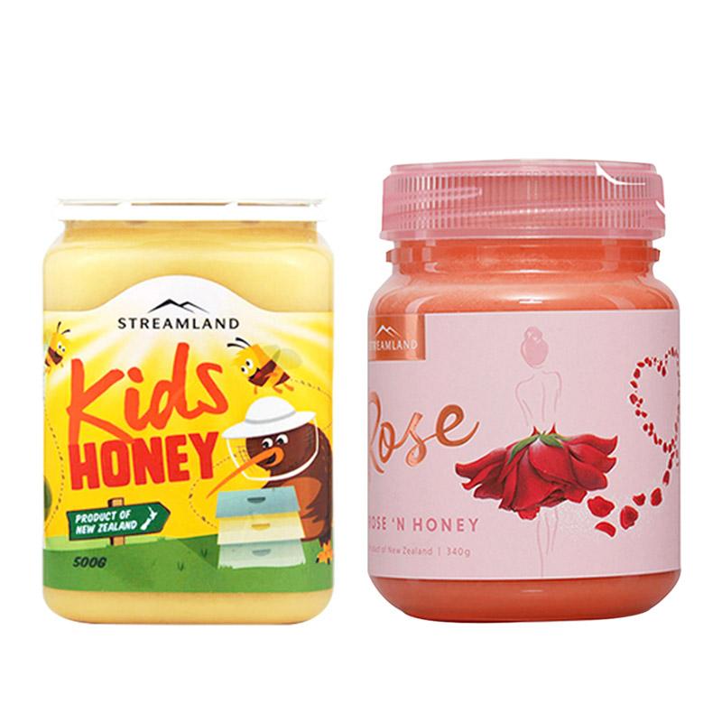 【新西兰直邮】新溪岛streamland儿童蜂蜜500g+玫瑰蜂蜜340g组合装