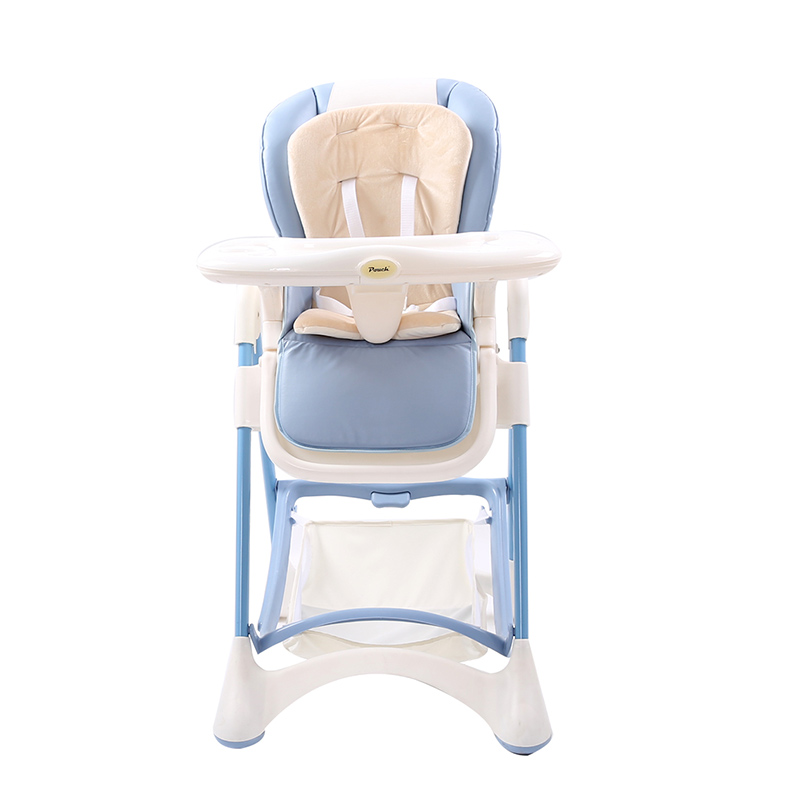 Pouch多功能折叠可坐躺便携式宝宝餐椅K05浅蓝色