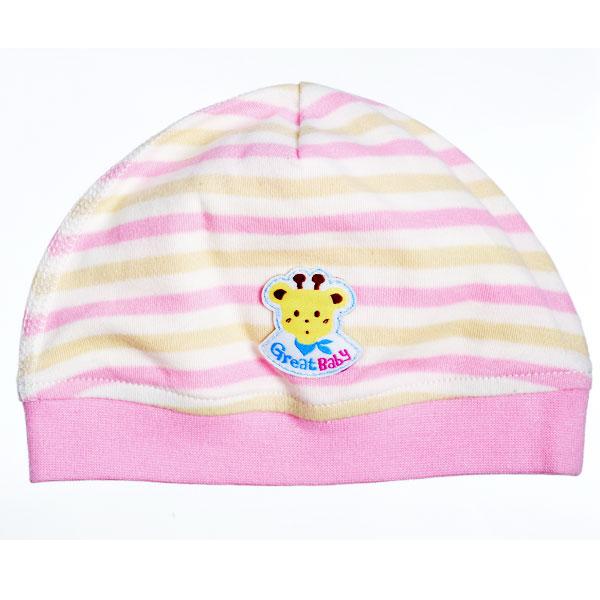 歌瑞贝儿--40支红条双面布2片婴儿帽(红-40)