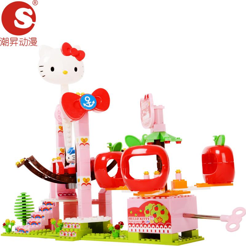 潮�N动漫儿童玩具女孩塑料拼插积木冲天海盗船(音乐版)
