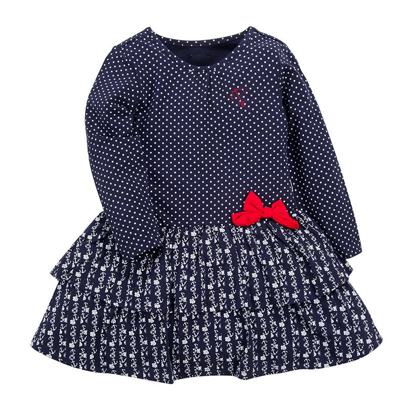 歌瑞凯儿A类女童蓝色针织连衣裙
