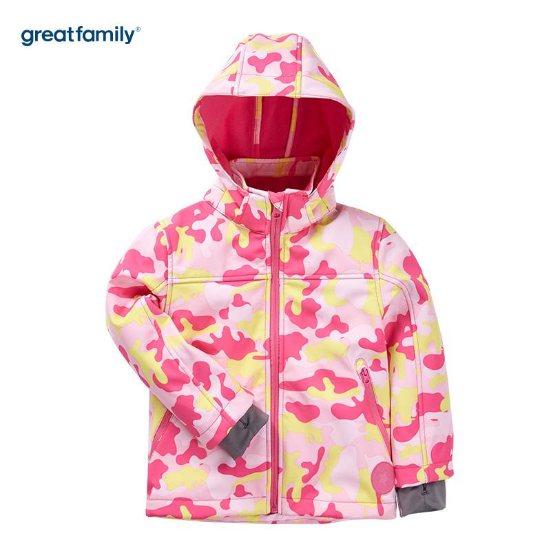 歌瑞家(Greatfamily)A类户外系列女童粉色迷彩印花软壳连帽冲锋衣