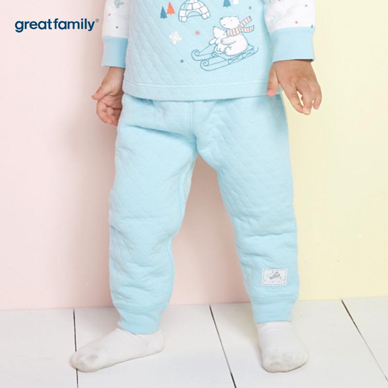 歌瑞家(Greatfamily)A类男宝宝厚三保暖蓝色开闭裆长裤