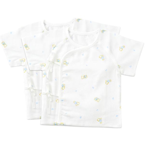 歌瑞贝儿--竹纤维纱布短袖和短袍两件装0:1月/男孩(白-52)