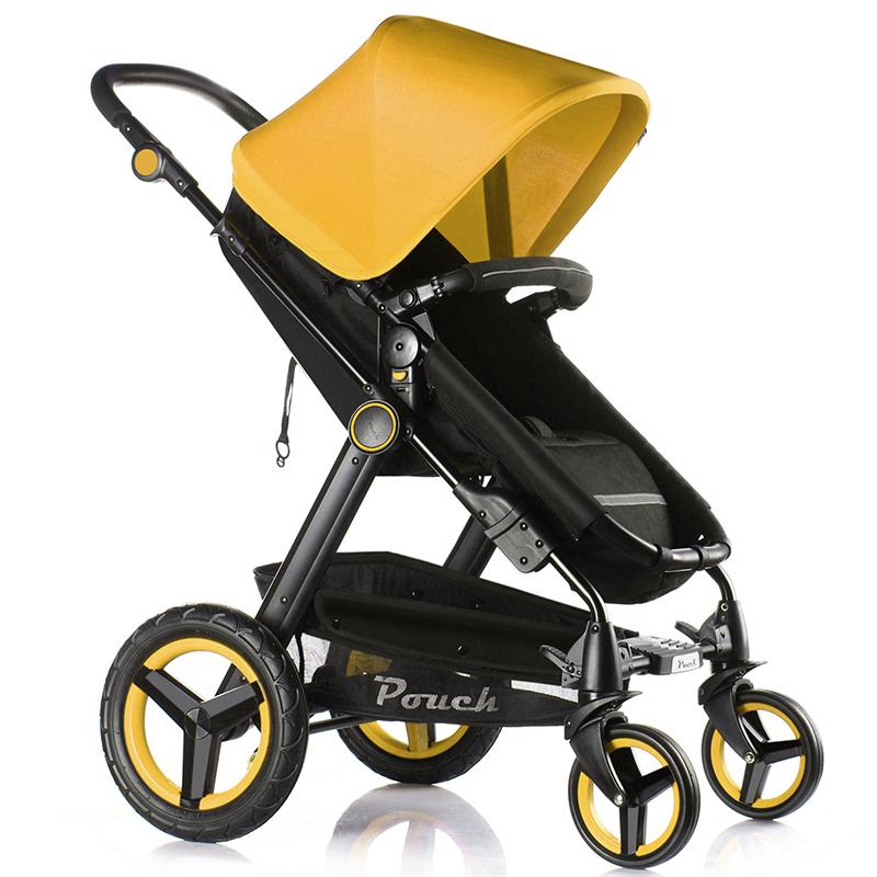 Pouch婴儿推车高景观婴儿车可躺可坐避震四轮宝宝童车手推车P69 黄黑