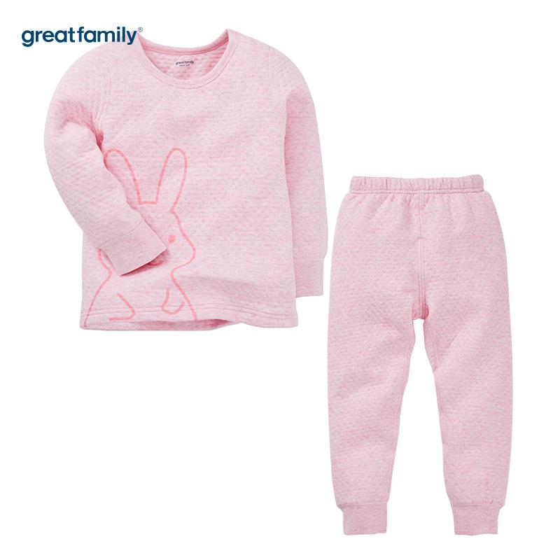 歌瑞家(Greatfamily)A类女童粉色三保暖圆领长袖套装