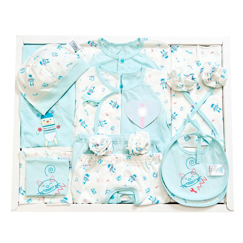 歌瑞贝儿(新)--机器宝宝单面布15件套GB130-229蓝混码cm