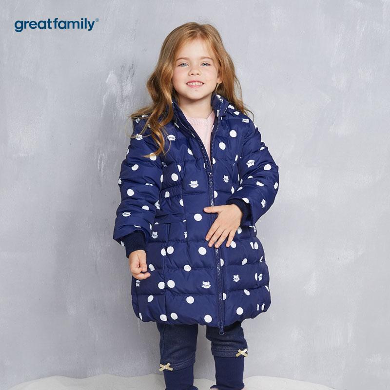 歌瑞家(Greatfamily)A类女童藏青色波点连帽中长款羽绒服