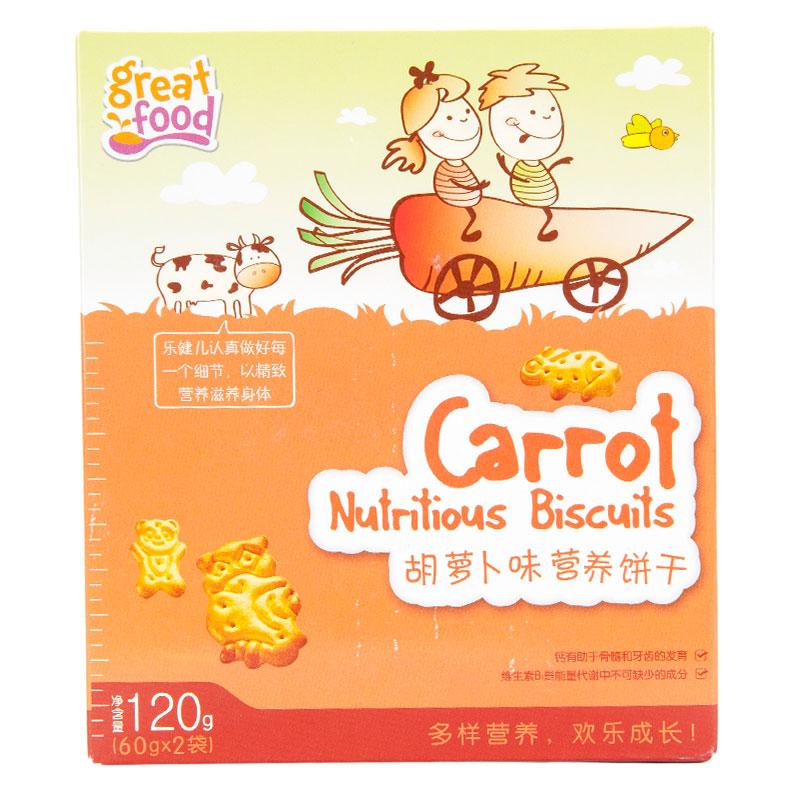 乐健儿GreatFood胡萝卜味牛奶营养饼干120g/盒