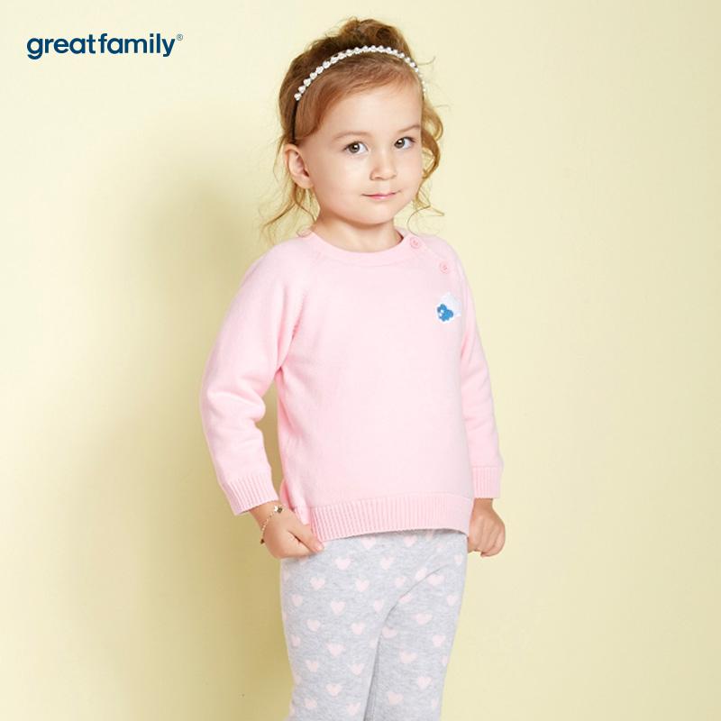 歌瑞家(Greatfamily)A类女宝宝粉色黄金绒内里套头针织衫