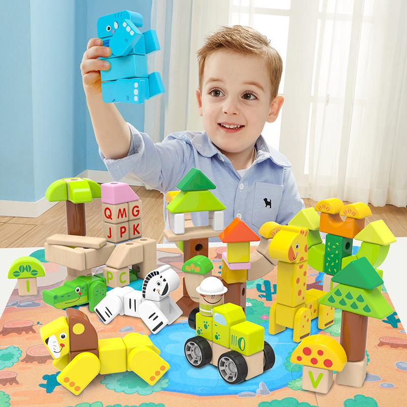 特宝儿(Topbright)森林积木120粒 儿童拼装木制大颗粒(1岁及以上适用)120156
