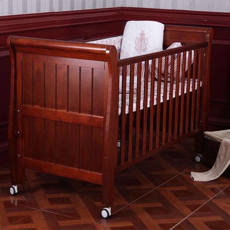 第一站Dzone普罗米修斯欧式婴儿床-核桃色