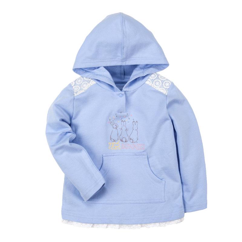 歌瑞家(比得兔)A类女童蓝色连帽卫衣