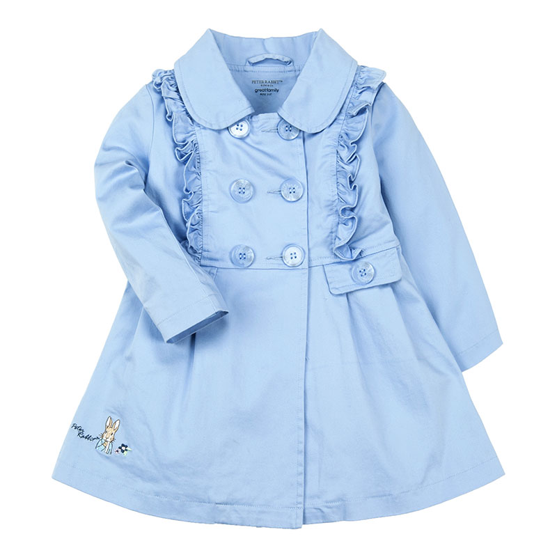 歌瑞凯儿(比得兔)A类女童蓝色梭织风衣