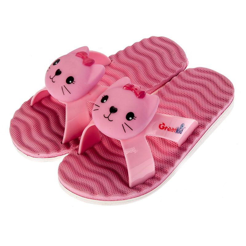 歌瑞凯儿女婴立体小猫拖鞋GK152-042SH粉14cm