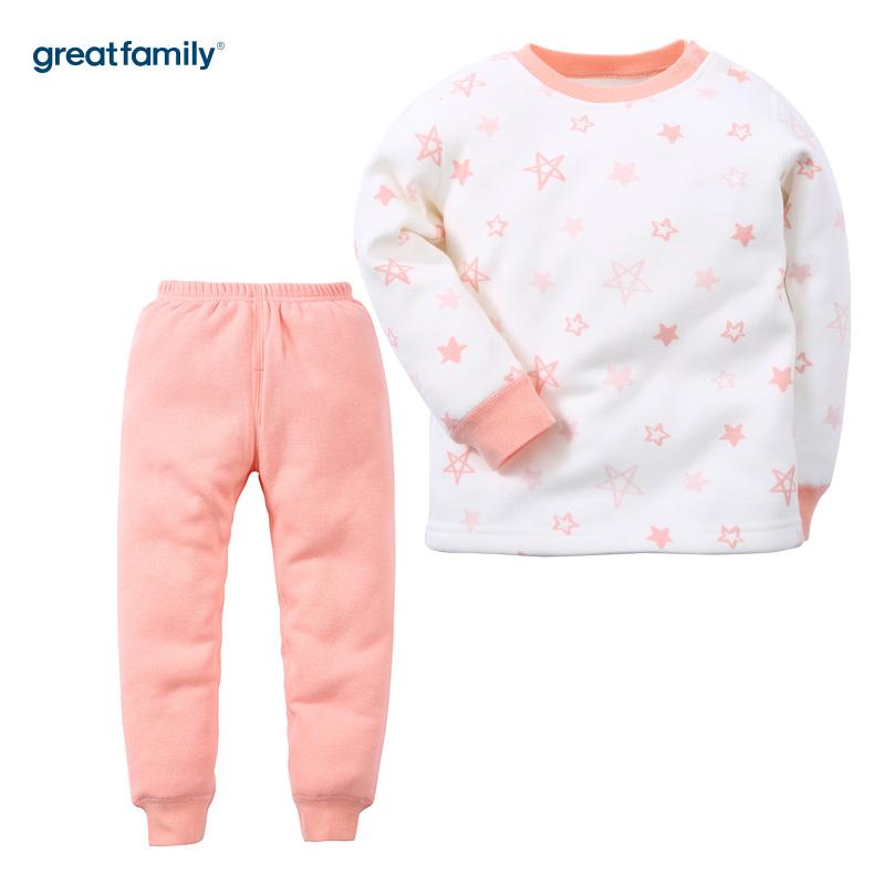 歌瑞家(Greatfamily)A类女童混色不倒绒圆领内衣套装/家居套装
