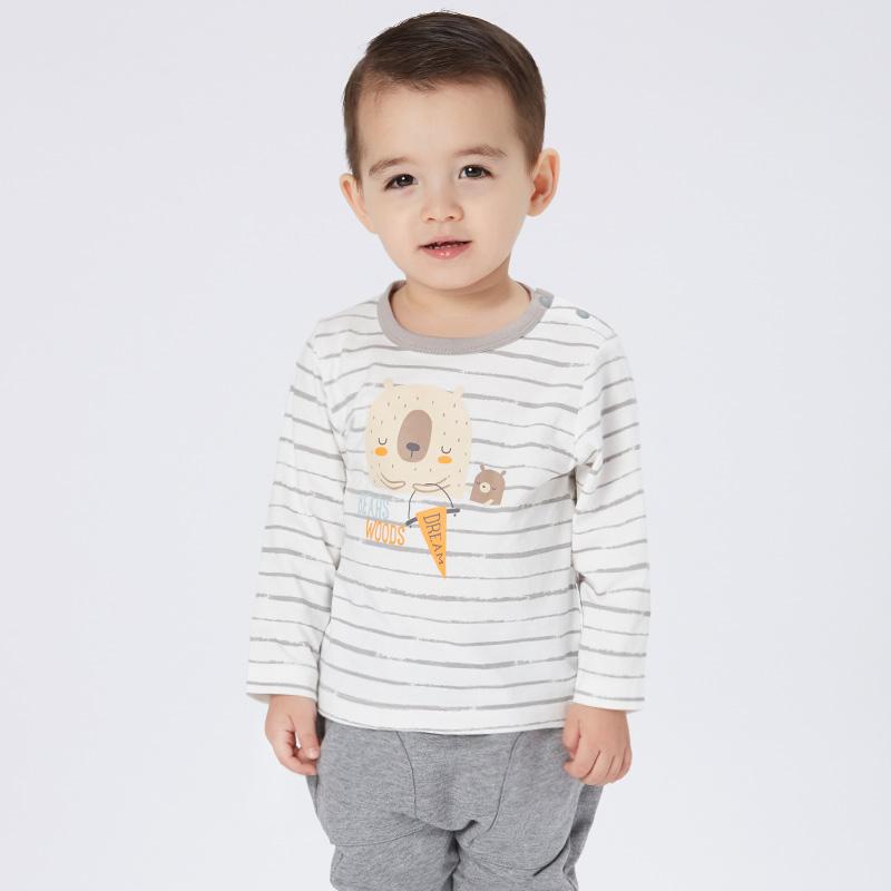 歌瑞家greatfamilyA类条纹男婴小熊T恤