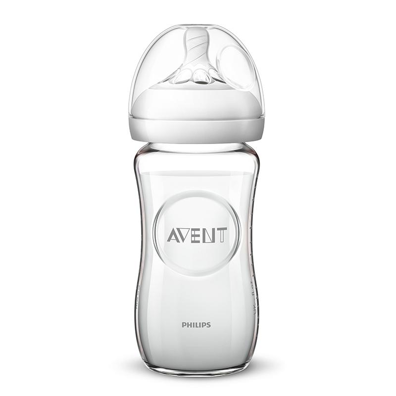 新安怡AVENT新安怡宽口径自然玻璃奶瓶8oz/240毫升(奶嘴1月+)1个/盒