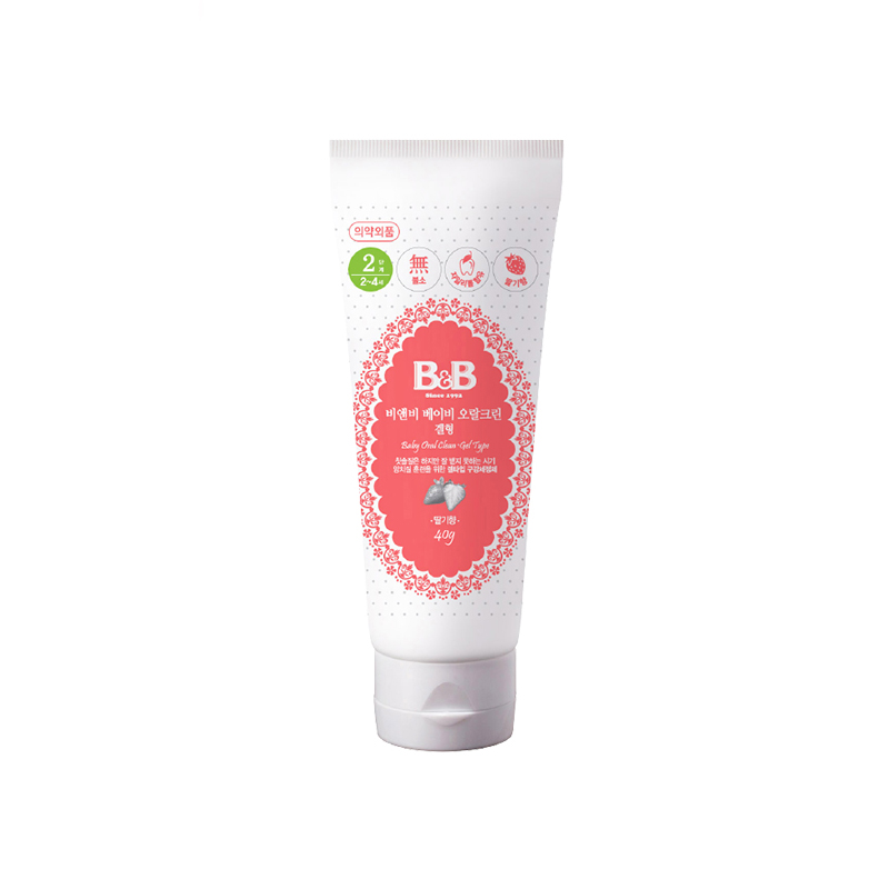 保宁B&B韩国进口婴儿口腔清洁剂40g草莓味婴儿口腔清洁
