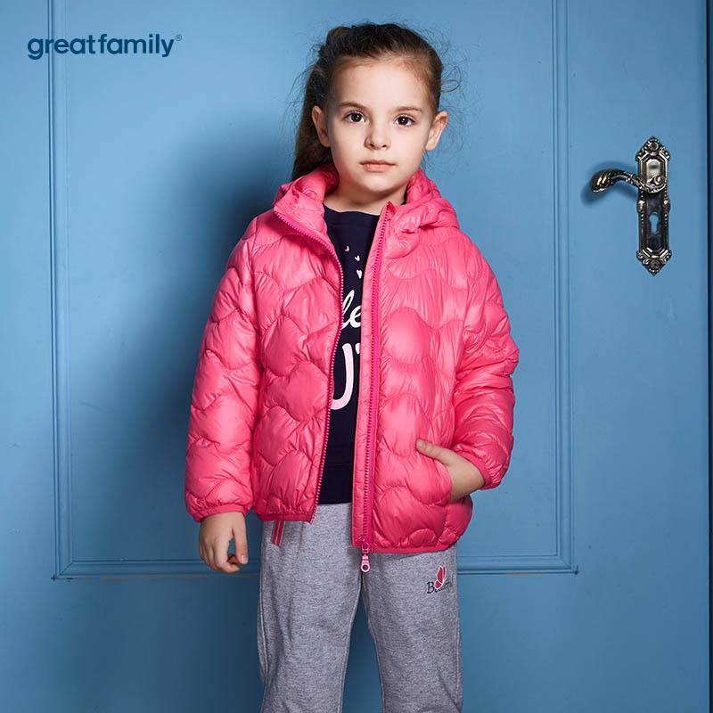 歌瑞家(Greatfamily)A类经典校园女童玫红色轻薄柔软白鸭绒连帽羽绒服