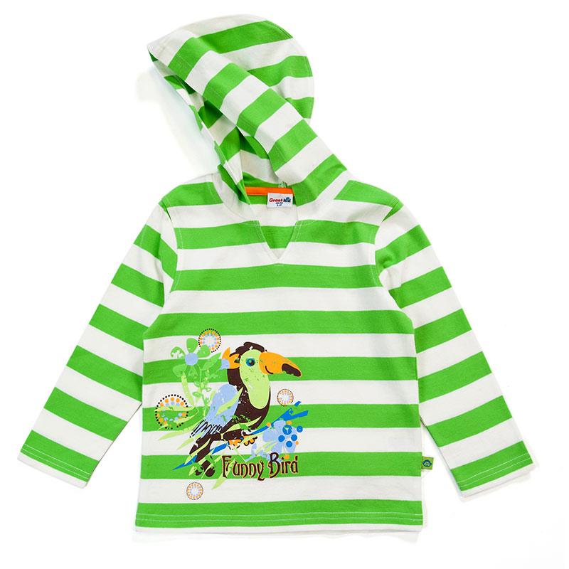 歌瑞凯儿(新)--男童色织彩条连帽套头长T(春)GK141-029TC绿80