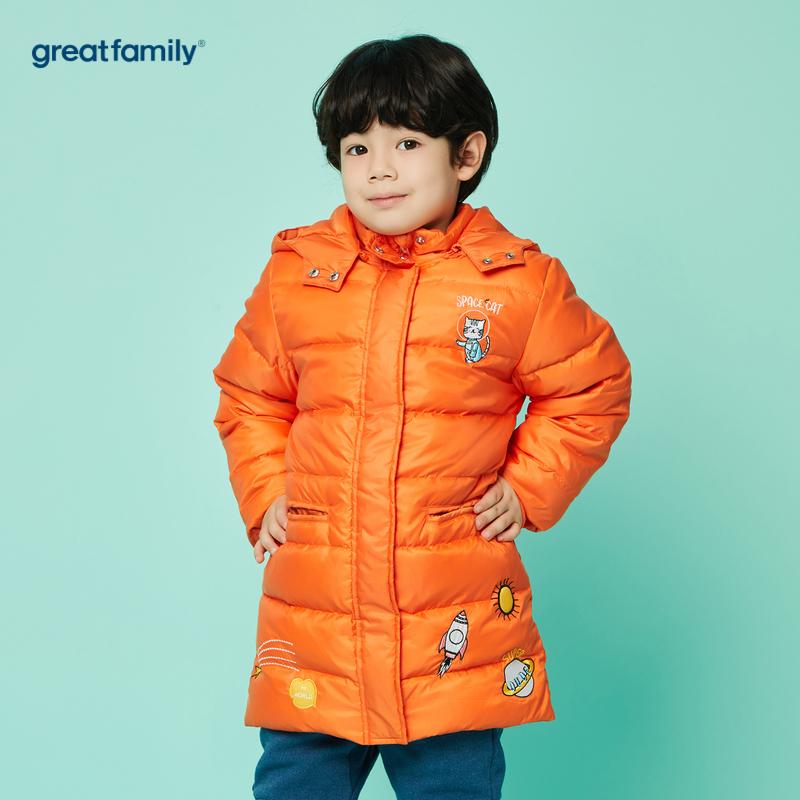 歌瑞家A类男童橙中长款羽绒服