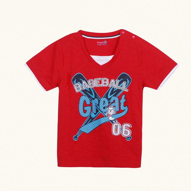 歌瑞凯儿A类男童红针织小V领短袖T恤