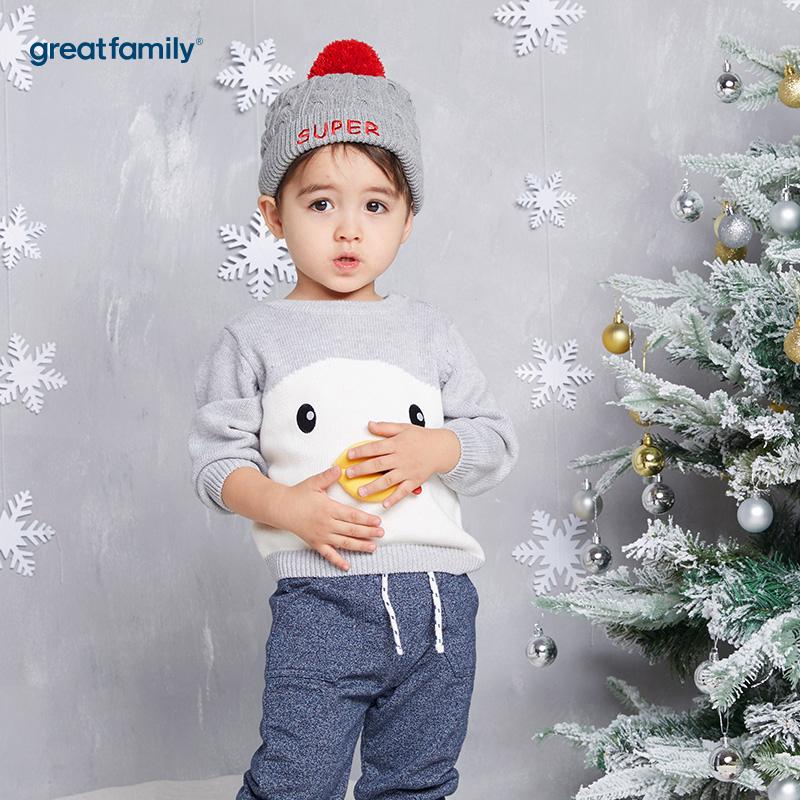 歌瑞家(Greatfamily)A类男宝宝灰色圣诞系列小企鹅套头线衫