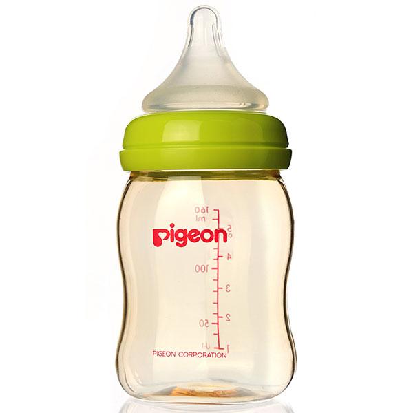贝亲Pigeon宽口径PPSU奶瓶160ml绿色