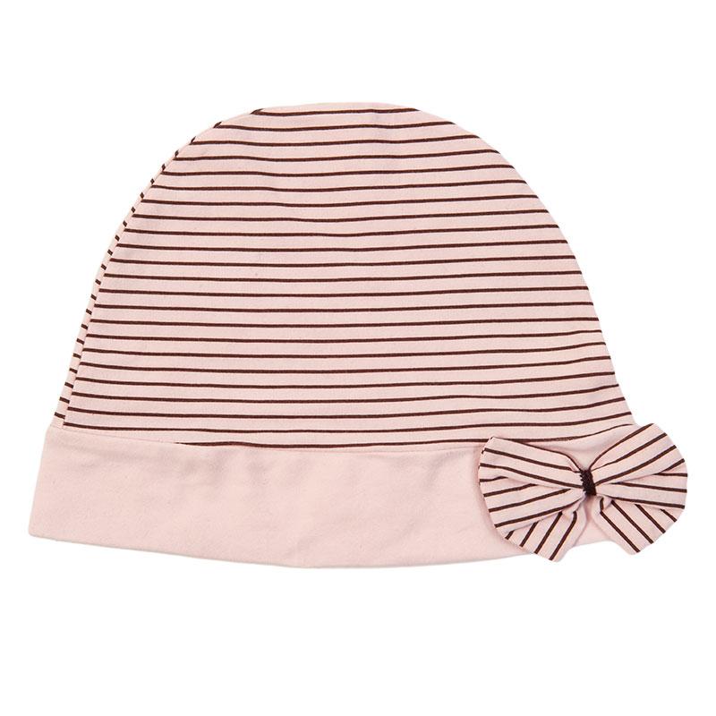 歌瑞家greatfamily柔粉横条月子帽粉色