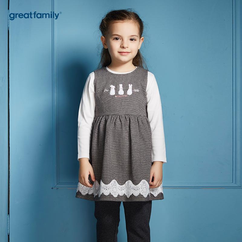 歌瑞家(Greatfamily)比得兔(Peterrabbit)A类女童灰色千鸟格纯棉针织连衣裙