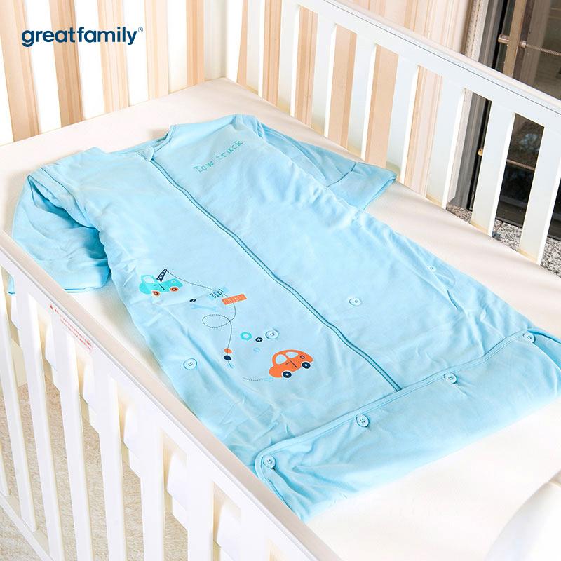 歌瑞贝儿针织色织条可调节睡袋小汽车款45*80-90cm蓝色