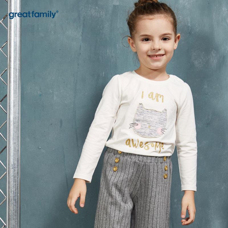 歌瑞家(Greatfamily)A类酷帅宝贝女童白色小黑猫头金色亮片装饰图案圆领T恤