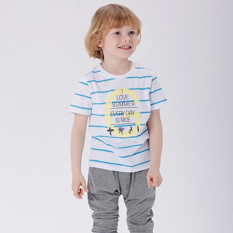 歌瑞家greatfamilyA类白色男童竹节单面布T恤