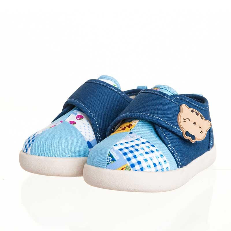 歌瑞贝儿(新)--猫猫学布鞋(男婴儿鞋)GB143-027SH蓝14CM