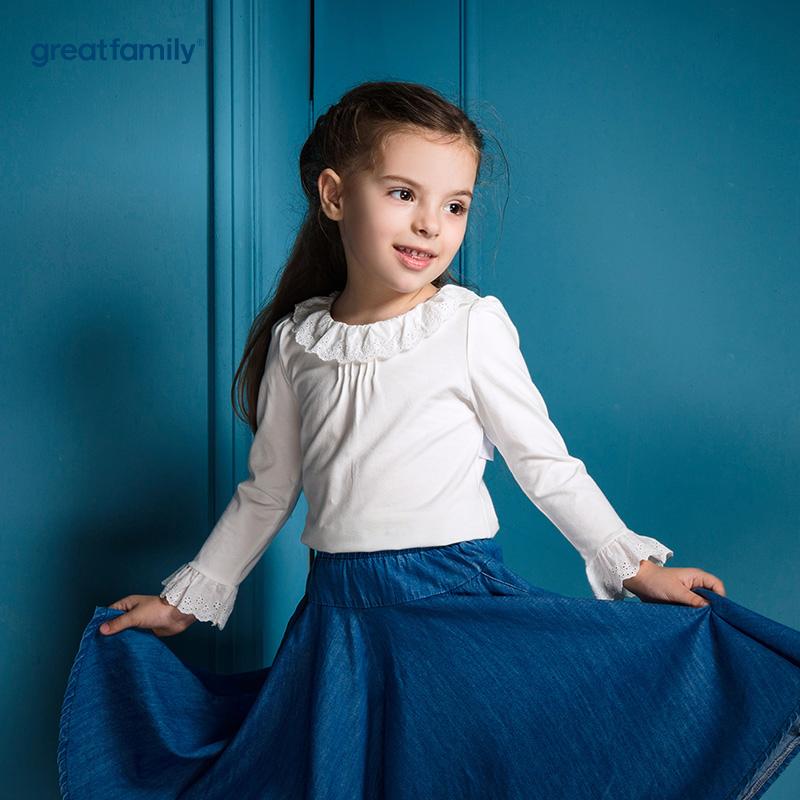 歌瑞家(Greatfamily)A类可爱精灵女童白色荷叶装饰针织T恤