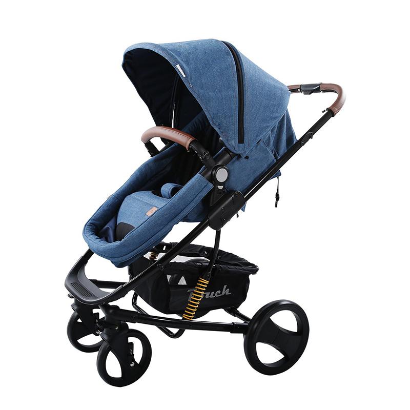 Pouch婴儿高景观可坐可躺双向推车可折叠P35牛仔色