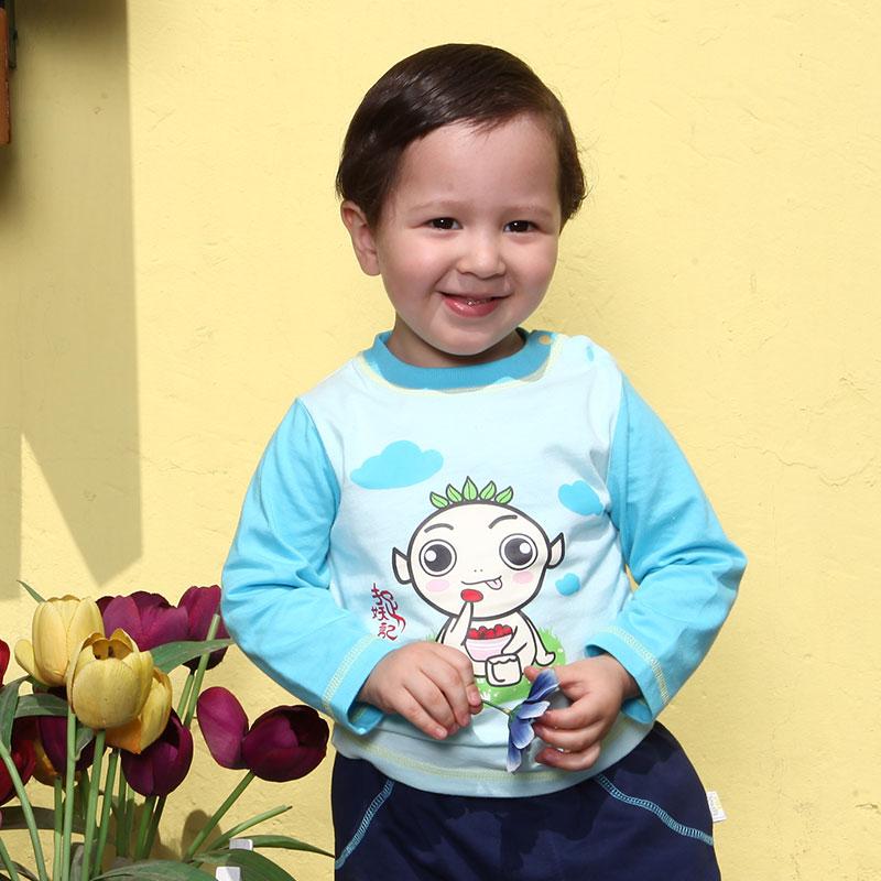 歌瑞贝儿A类男婴蓝色纯棉插肩袖T恤捉妖记独家授权婴装
