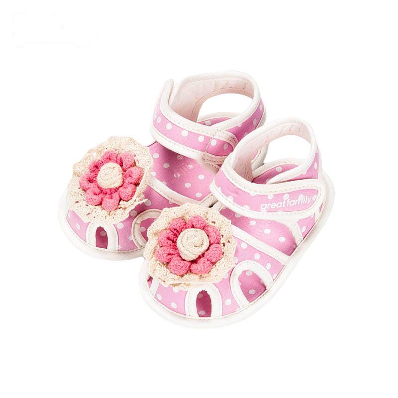 歌瑞贝儿女婴小花凉鞋GB162-005SH粉11cm双
