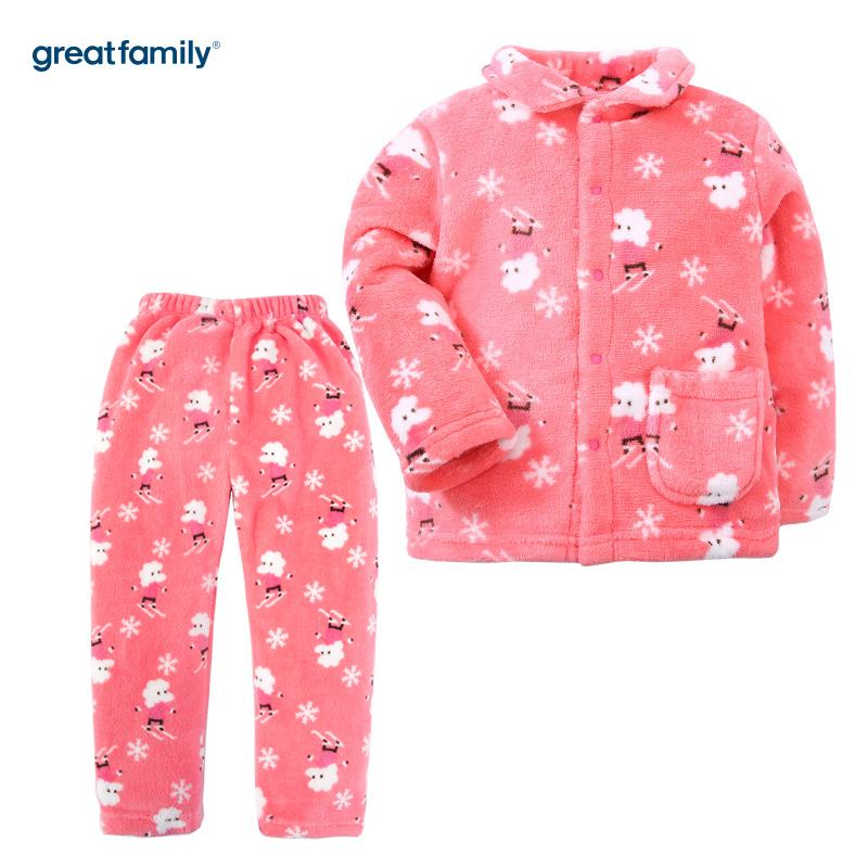 歌瑞家(Greatfamily)A类女童花色珊瑚绒对襟套装/家居套装