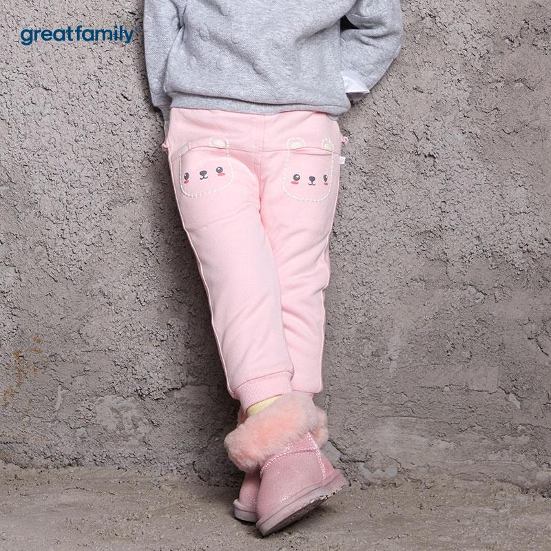 歌瑞家(Greatfamily)A类女宝宝粉色内里超细摇粒绒针织裤/卫裤