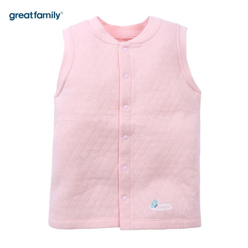 歌瑞家(Greatfamily)A类女童粉色三保暖立领马甲
