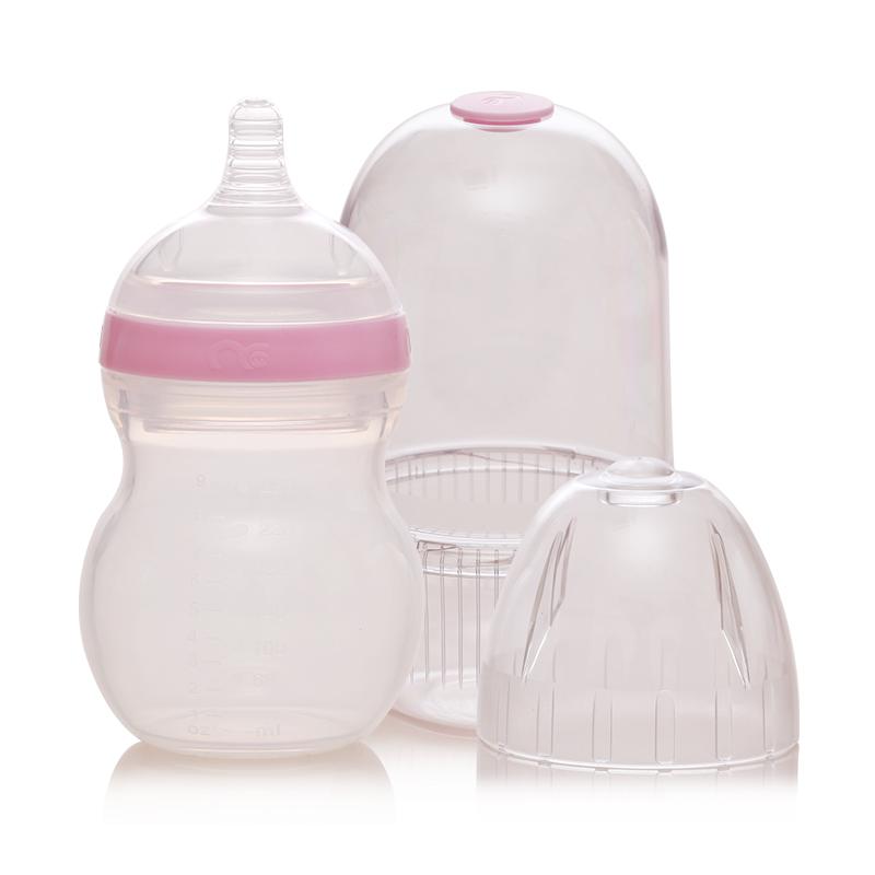 Mamiqing硅胶奶瓶粉色(内含奶瓶罩1个)260ml