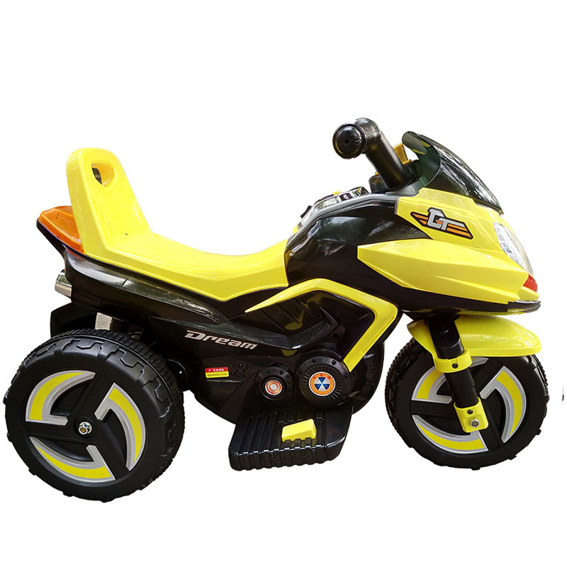 锋达儿童电动小摩托车宝宝可坐三轮电动童车小孩充电瓶车电动摩托车9801A黄色