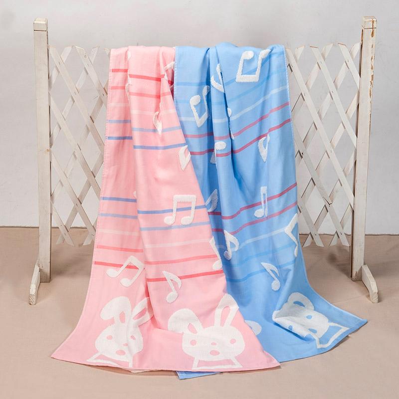 歌瑞家greatfamily纱布+毛圈浴巾蓝色