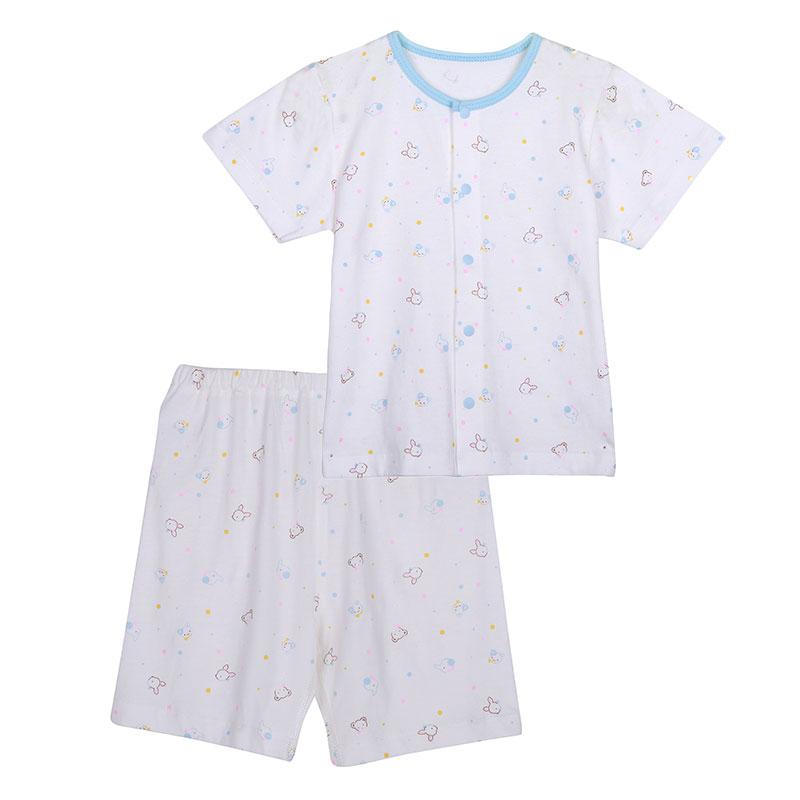 歌瑞贝儿A类男童蓝色纯棉短袖对襟套装